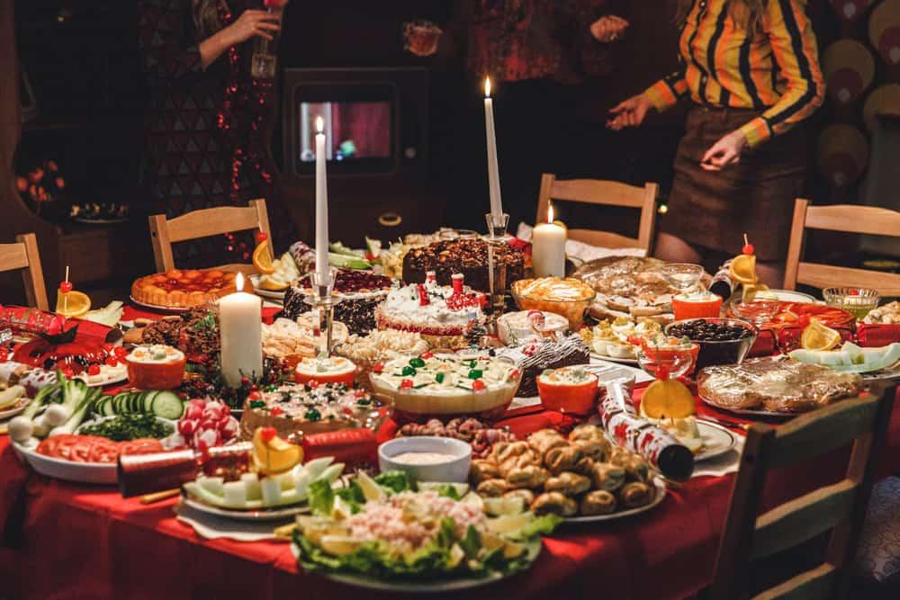 Table set for 1970's christmas