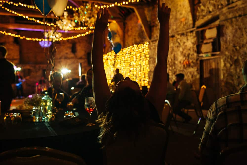 a party goer at park house barn