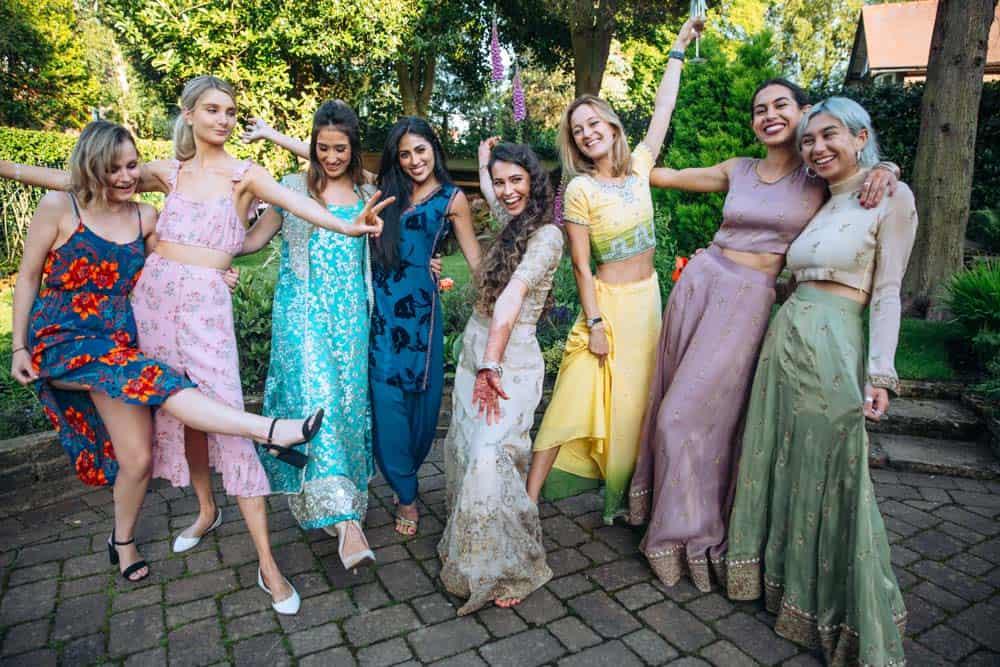 girls at a mehndi celebration party