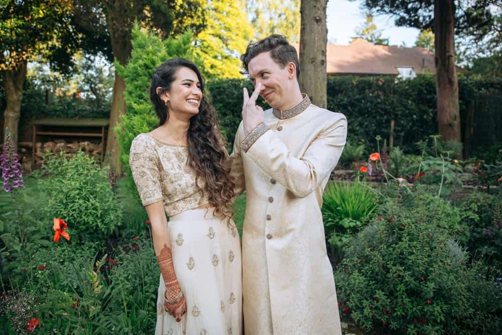 bride and groom to be at a mehndi celebration